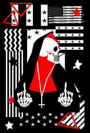 Skull in Pope clothing with middle finger up and American, USA flag vector background. 矢量图像