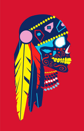 Indian skull icon colorful feathers and details, side view, vector background