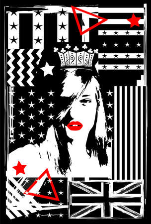 British flag background with sexy Queen of England, zigzag and stars. Grunge vector background.