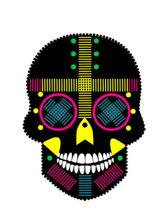 Mexican sugar skull with white teeth. Colorful and detailed vivid colors vector background.