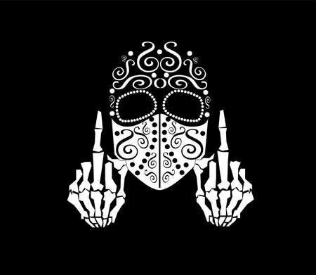 Skull vector with middle finger up and face mask, ornament
