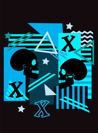 Skull graffiti pop art blue background with stripes, triangle, stars and letter X. 矢量图像