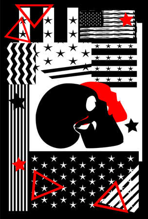 USA, American flag poster graffiti with skull head and stripes, black and white,