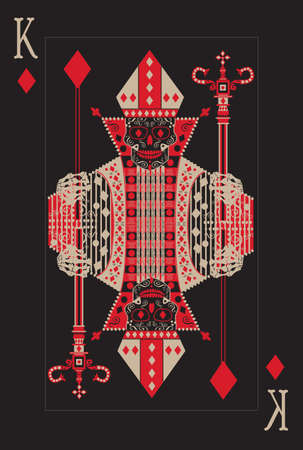 Playing card king skull with stick black and red color vector
