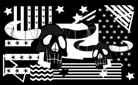 Satan skull with horns, stripes and stars, abstract black and white vector background