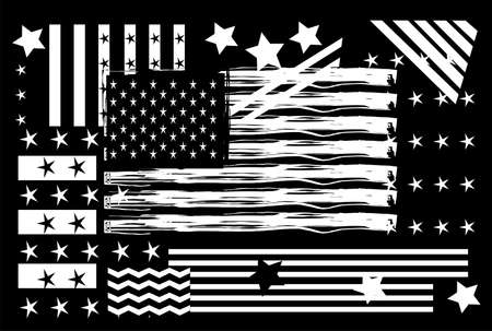 USA, American flag black and white with star  background vector.