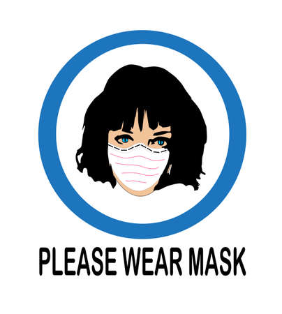 Wear mask sign vector with a girl 矢量图像