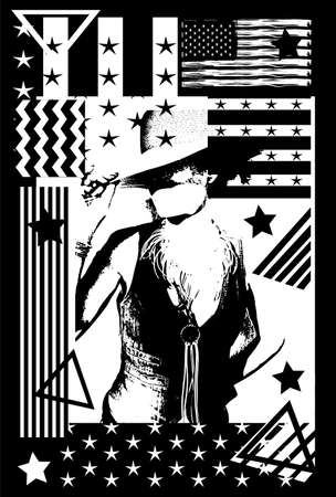 Cowgirl silhouette on the black and white background with USA flag,  stripes and stars illustration background