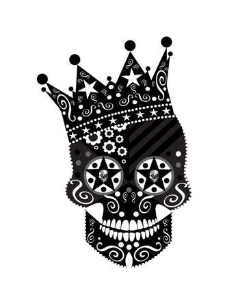 King skull icon with the crown and stars with ornament details
