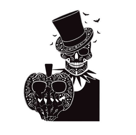 Happy Halloween skull icon  background black and white with cylinder hat, bats and pumpkin