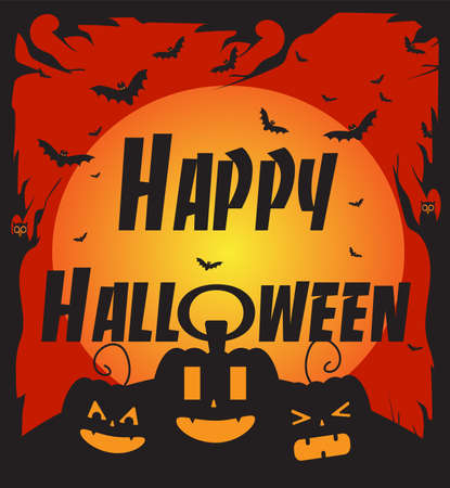 Happy Halloween background vector with pumpkins, bats and text