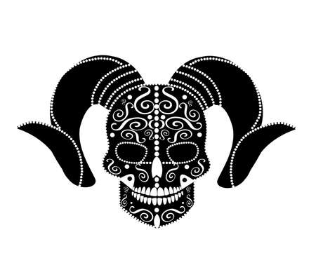 Devil skull with horns black and white vector background