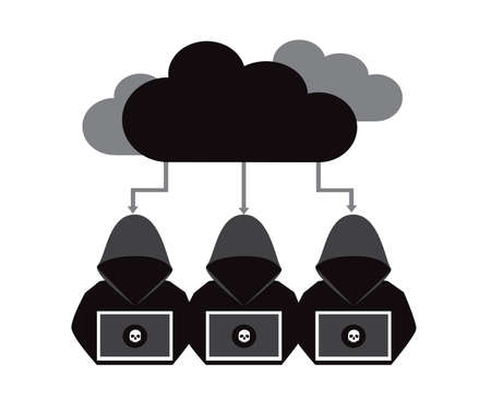 Hacker with computer with cloud computing vector illustration