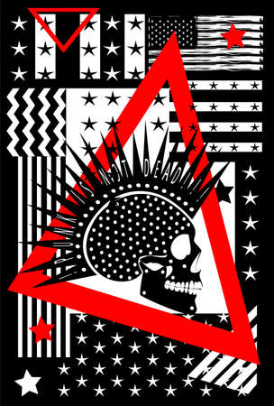 Punk skull icon side view with USA flag black and white vector background