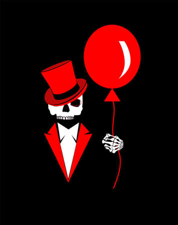 Skull icon with cylinder hat, tuxedo and balloon, Happy Halloween background Vectores