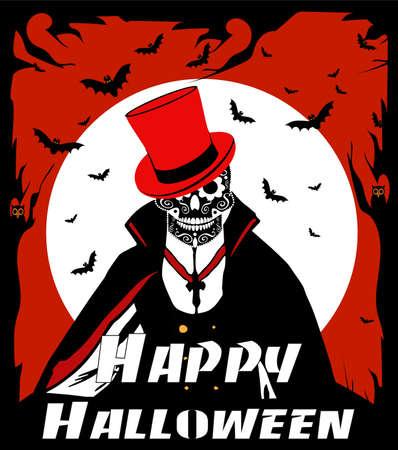Happy Halloween Skull Dracula with Moonlight, bats and owl vector background