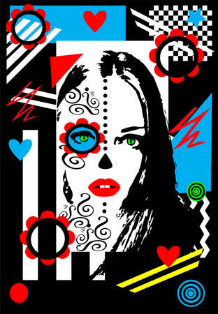 Day of the Dead girl, colorful vector background with stripes, hearts and ornament details