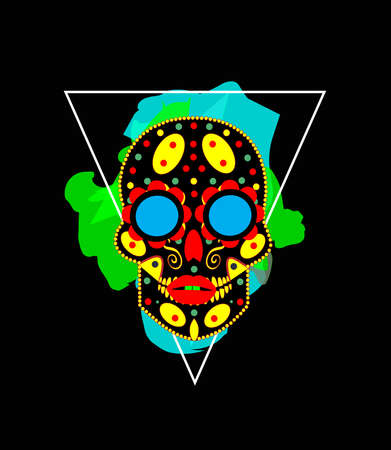 Sugar skull robot icon with triangle, Day of the Dead, Mexico. 矢量图像