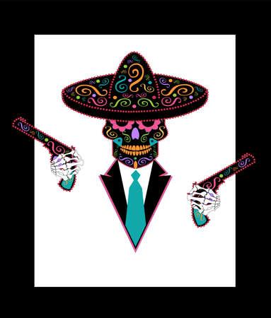 Mexican sugar skull with ornament sombrero, tuxedo and pistols vector background 矢量图像