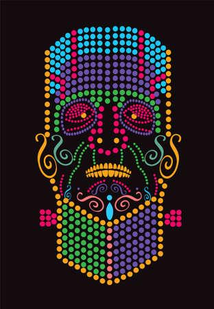 Frankenstein vector, Happy Halloween colorful dots background 矢量图像