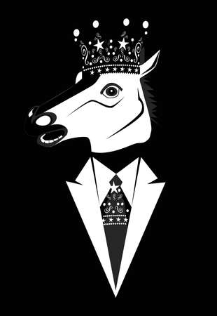 King horse head with crown and tuxedo, black and white cartoon background