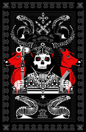 Tarot card skull death with horns, horses and snakes, ornament details