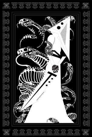 Pyramid head with saw and snakes, horror Halloween background