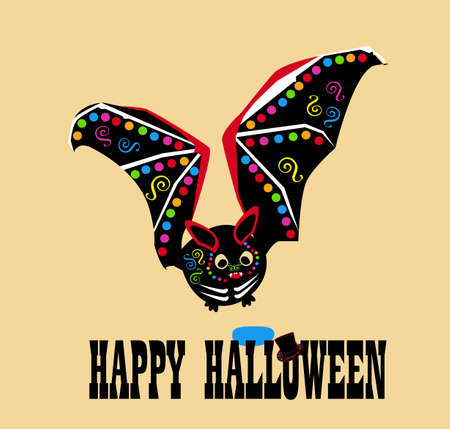 Happy Halloween text background with colorful bat icon 矢量图像