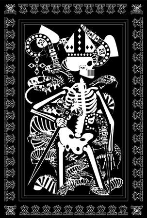 King card Tarot with skull, snakes and swords. Black and white background, vector illustration. 矢量图像