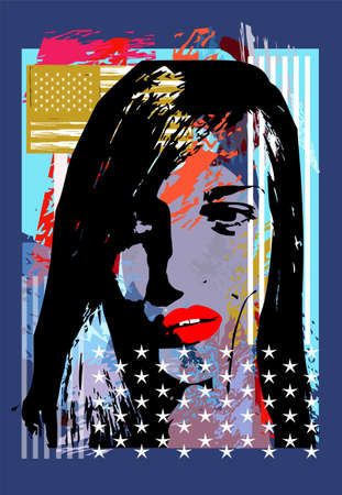 Urban background with silhouette of a girl with USA, American flag and red lips, vector