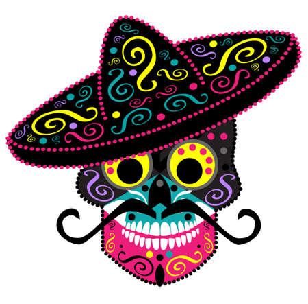 Mexican skull with sombrero, Day of the dead vector background 矢量图像