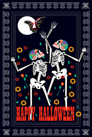 Happy Halloween background with skulls dancing on the Moonlight, flowers, bat and text 免版税图像
