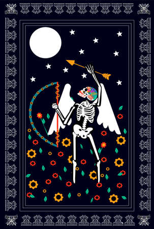 Cupid, God of love, skull with arrow and flowers on the moonlight