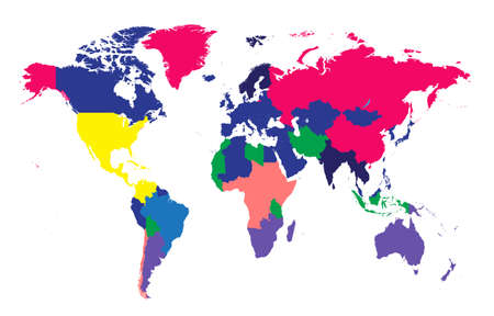 World map Info graphic, colorful borders