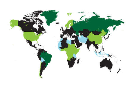 World map Info graphic, colorful borders green 矢量图像