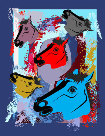 Horse art, colorful background, vector