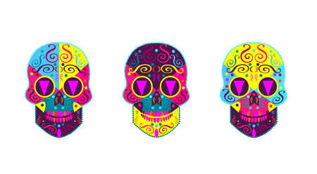Sugar skulls vector, colorful and very detail icons Çizim