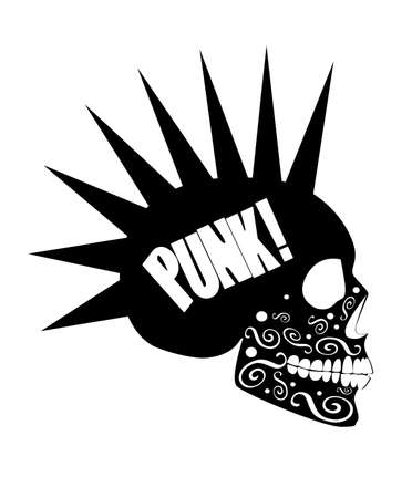 Skull icon vector with punk text, white background
