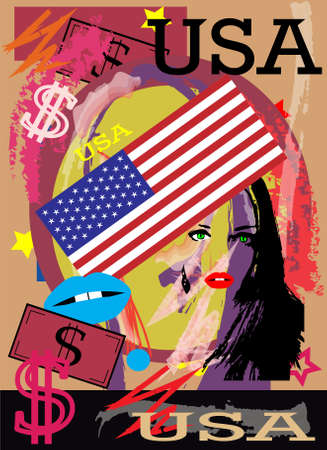 American flag colorful background with dollar sign and women silhouette, vector