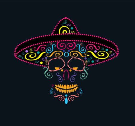 Mexican skull with sombrero and ornaments details, colorful Day of the dead vector background 矢量图像