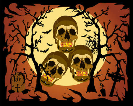 Skull icon in a forest on the Moonlight, with bats and grave, Halloween background