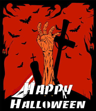 Halloween background cartoon with scary hand and grave yard, red and black color