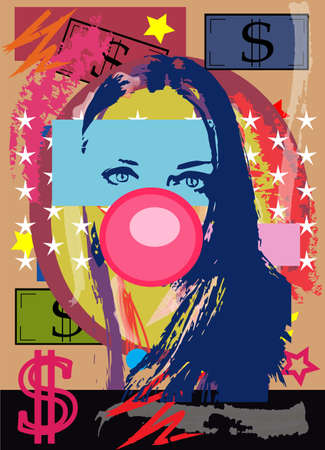 Sexy girl with chewing gum and money bills, colorful artistic background 矢量图像