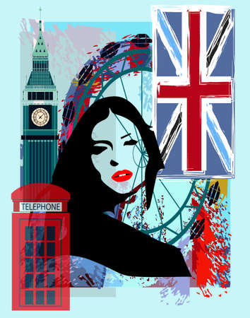 London girl poster with British flag  , Big Ben and girl silhouette background vector