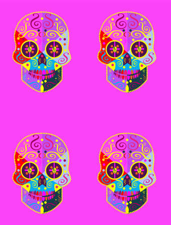 Day of the dead, sugar skulls patterns with ornament details and pink color background vector
