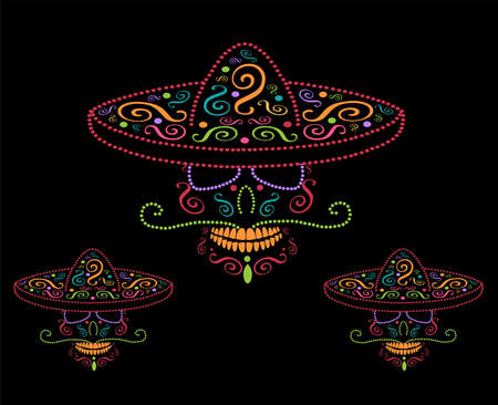 Mexican skulls with sombrero, Day of the dead colorful background 矢量图像