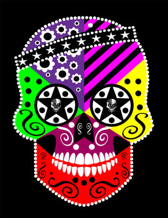 Mexican sugar skull with ornament details, vector. Halloween background.