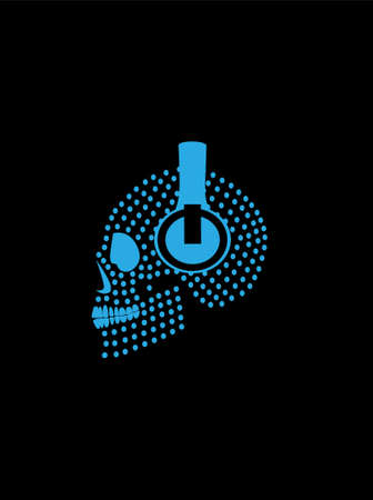 Skull icon with headphones and blue dots, vector background.