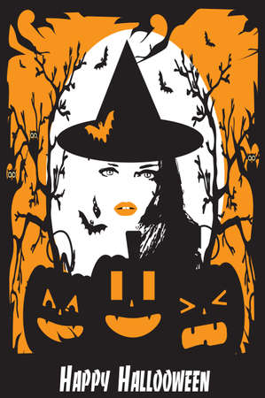 Halloween background with sexy witch girl, pumpkins and bats on the Moonlight