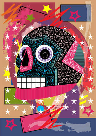 Mexican sugar skull on the colorful background vector illustration